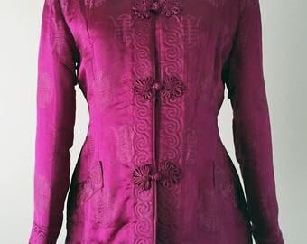 Vintage 40's Cheongsam Silk Jacket, 1940's Satin Chinese Jacket, Cranberry, Mandarin Collar, Frog Closures