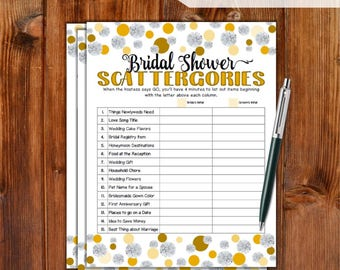 Scattergories Bridal Shower Game - Gold Dots & Diamonds / Printable Bridal Shower Scattergories Game Bachelorette Night / DD79-GD