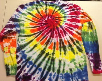 Rainbow Black Spiral Tie Dye Long Sleeve