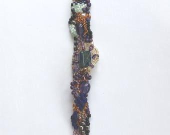 Freeform Peyote Bracelet with Green Stone