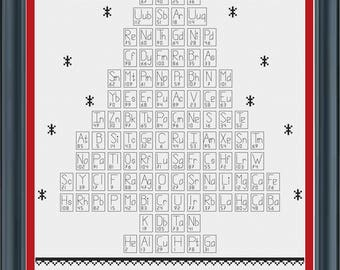 Oh Chemist Tree Cross-stitch pattern, PDF download, Christmas Cross Stitch sampler, Science Humour, Oh Christmas Tree