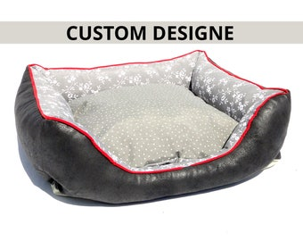 Custom Dog Bed LoveDog black gray/free embroidery/choose your fabric/custom cat bed