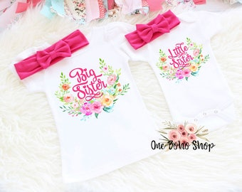 Big Sister Little Sister Outfits, Little Sister Outfit, Big Sister Shirt, Sister Sibling Set, Big Sister Reveal, Baby Shower Gift BSLS2HP