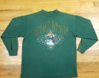 Vintage Early 90s Ski Long Sleeve T Shirt Big Mountain Montana Size Medium m