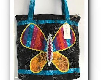 Rainbow Shweshwe Butterfly shopping Bag