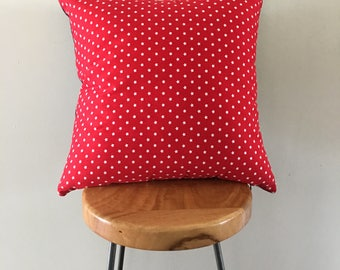 Decorative Pillow / Cushion Cover 45cm Red with White Stars and Denim