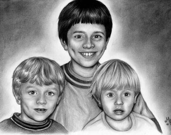 Family portrait, custom, made to order, drawing