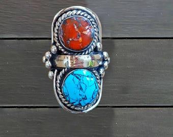Turquoise stacking ring/ coral ring/ tibetan ring/ statement ring/ stacking ring