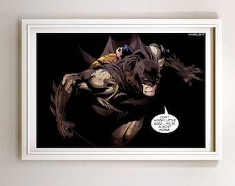 Batman & Baby Robin Art Print Poster Super Hero Digital Art DC Comics
