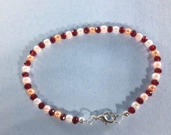 SALE 30% Ruby and Pearl  Bracelet, Ruby Gemstone Bracelet  , gemstone Bracelet , Birthstone Bracelet  ,     Birthstone bracelet