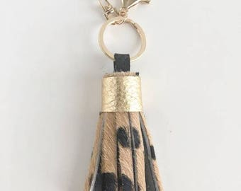 Mini Tassel Keychain- Cheetah hair on hide