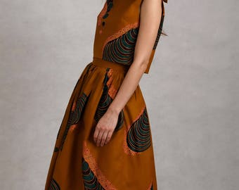 Maarimaia Ruffled Crop Top & Midi Skirt Set in Olive | Ruffled Top | Circle Skirt | Printed Top | Ankara Fabric | Full Skirt | Summer Outfit