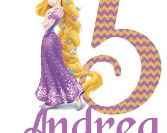 Tangled, Rapunzel, Iron On for Birthday Shirt