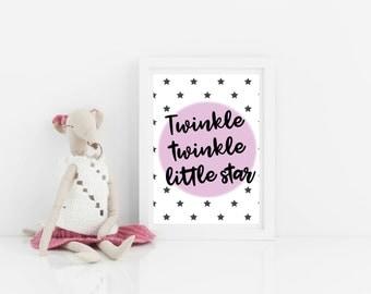 Nursery printable, digital download, art for new baby, girls wall art, Twinkle Twinkle Little Star, pink print, nursery print, girls print.