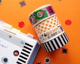 Halloween 4 Washi Tape Set, Deco Masking Tape, Planner Sticker, Deco tape, Filofax washi tape - LIMITED EDITION