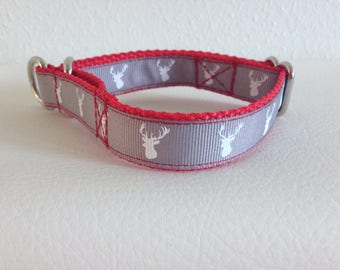 Limited Slip Dog Collar, Small Red Limited Slip Collar, Reindeer Limited Slip Dog Collar, Small Adjustable Christmas Dog Collar
