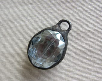 Hand Soldered Medium Pale Silvery Blue Crystal Oval Pendant