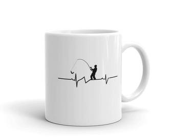 Fishing Heartbeat Mug | Perfect Gift For Fisherman |  Cheap Fishing Gift | Fishing Novelty Gift | Fishing Coffee Mug