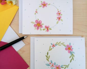 Watercolour floral wreath note cards (set of two)