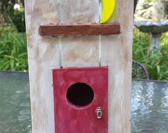 Gorgeous Handcrafted Outhouse Style Wood Birdhouse with Glow In The Dark Moon~Home, Garden, Yard Decor, Ornament~Nature, Wildlife~Great Gift