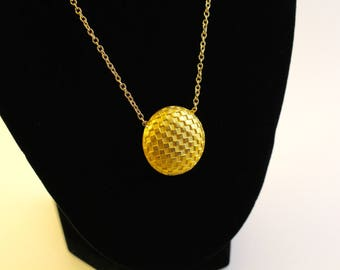 button gold necklace, vintage pattern jewelry, button jewelry