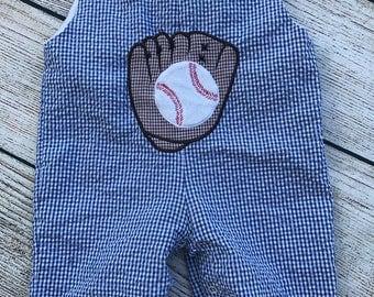 All Boy Mudpie Romper Baseball Gingham Blue Brown Summer Shortall Sleeveless