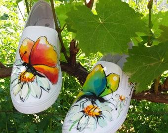 Butterflies  Slip Ons,  Hadpainted Shoes, Butterfly Slip on Shoes, Hand Painted Butterfly, Footwear Buttrfly, Handpainted Footwear, Slip on