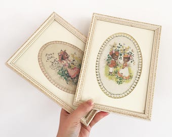 Set 4 Vintage Framed Mouse prints - baby girls nursery room decor style - 1970s - bohemian floral flowers whimsical #0586