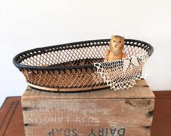 Vintage Cane Black & Natural Basket - Bohemian Boho Jungalow Eclectic Home Descor Style - fruit bowl - baby childrens nursery room #0656
