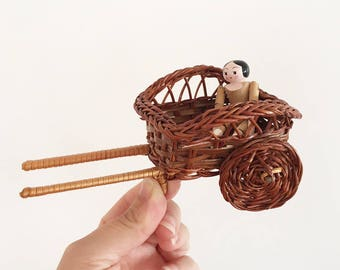 Small woven dolls cart display - Bohemian Boho Eclectic Jungalow Decor Style Home - baby child girl nursery room wicker miniature pram #0789