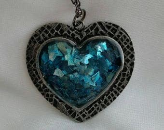 Antique Silver Heart with German Glass Glitter