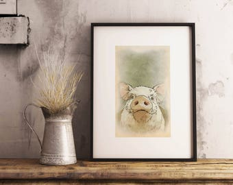 Printable Pig Art Pig Kitchen Decor Pig Printable Printable Pig Print Farm