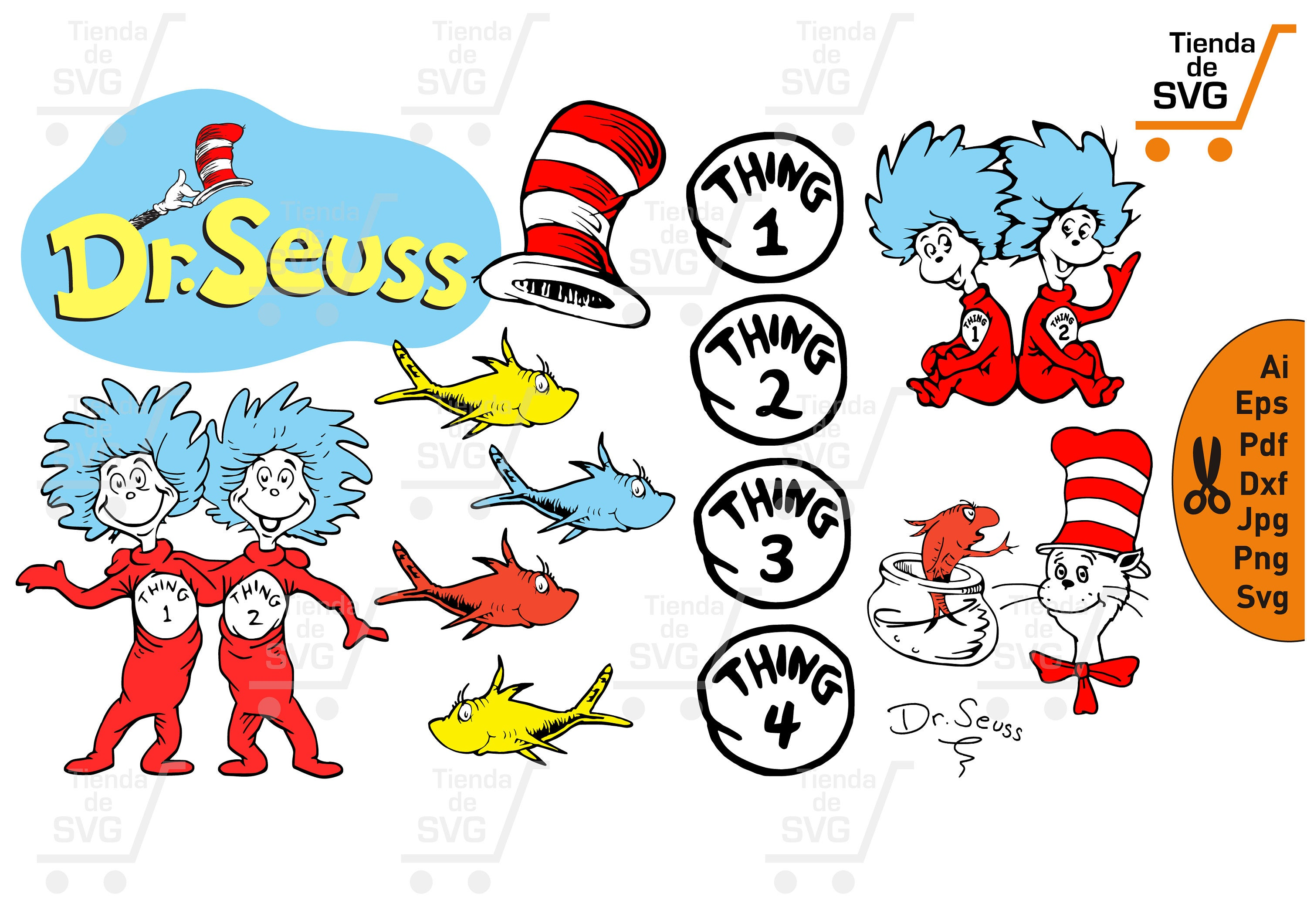 the cat in the hat svg dr seuss svg thing 1 and thing 2