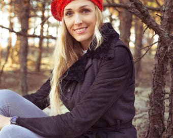 Women's Knitted Red Beret Hat