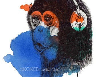 MONKEY - whimsical animal art, music, nursery decor, 8x10 print