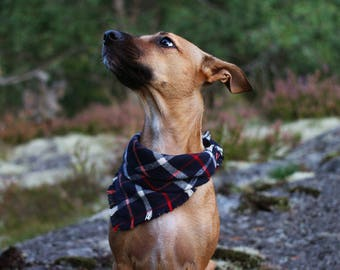 Dog bandana classic handmade fall plaid frayed flannel dog bandana in blue, scarf neck wear with fringes for your small to large dog