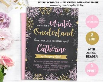Winter Onederland chalkboard Pink and Gold Birthday Invitation, Snowflake invite, 1st birthday invitations, girls first Instant donwload