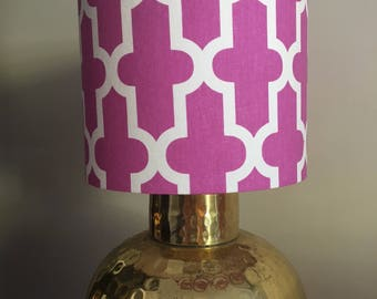 Pink Art Deco Fabric Drum Lampshade