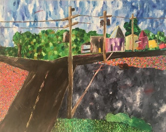 Original Oil Art Painting Colorful Neighborhood