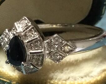 SOLD Art Deco 0.5ct Genuine Sapphire & Diamond White Gold Halo Ring UK Size O/P