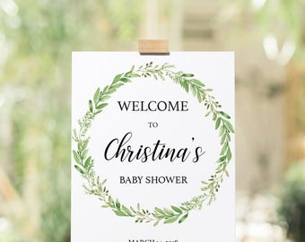Printable Baby Shower Welcome Sign Template, Editable Welcome Sign Baby Shower, Rustic Green Wreath, Instant Download, Greenery Signage GL1