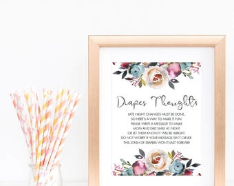 Late Night Diapers Sign Pink Baby Shower Sign Printable Watercolor Flowers Garden Baby Shower Table Decorations Fun Baby Party Games PDF LF1