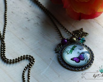 "Bronze cabochon necklace ""Purple & Green Butterfly"""