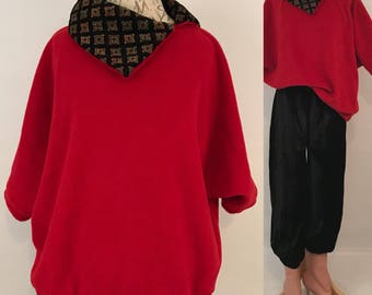 90s Red Fleece Oversized Top Vintage Hipster Oversized Collar