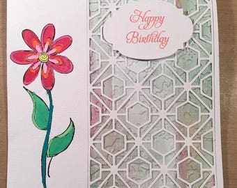 Handcrafted Flower Birthday Card