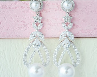 Bridal Pearl Earrings Bridal Earrings CZ Pearl Earrings Long Pearl Earrings Rhinestone Pearl Earrings Pearl Dangle Earrings Bridal Jewelry