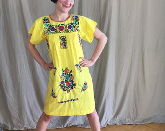 Vintage 1960s Yellow Summer Folk Dress Size S/M