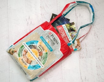 Upcycled Feed Bag - Feed Bag Tote - Grocery Bag - Reusable Shopping Bag - Market Tote - Purina Chicken Feed Bag - Beach Bag - Book Bag