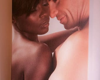 High-Quality Photo Art on Canvas featuring Beautiful Interracial Couple
