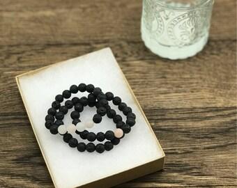 Diffuser Bracelets, Lava Bead Bracelets, Essential Oil Diffuser Bracelets, Stackable Bracelets, Set of Three Bracelets, Pink Aventurine